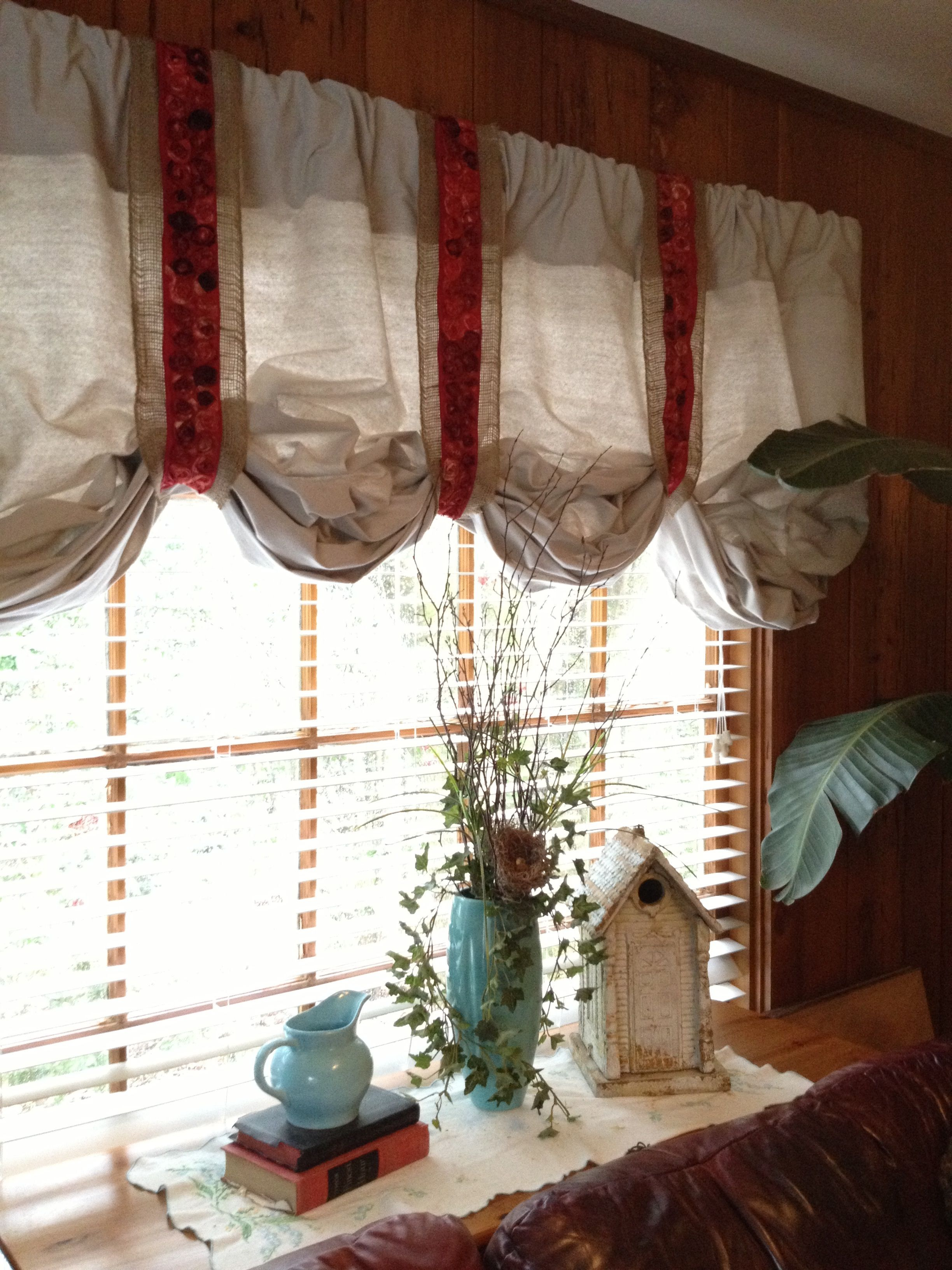 Curtains Made From Paint Drop Cloths Trimmed With Burlap