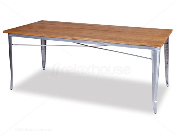 Industry Table 190cm Solid Teak Galvanised Vintage Dining Table Table Tolix
