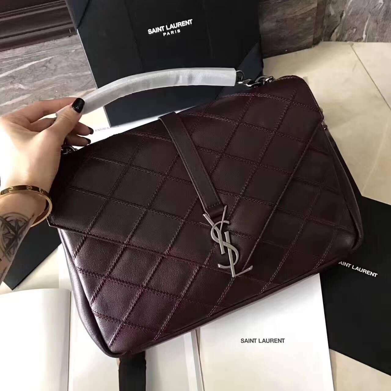 8923c12860 Saint Laurent Classic Large College Bag in Diamond Matelasse Leather 392738  Burgundy 2017