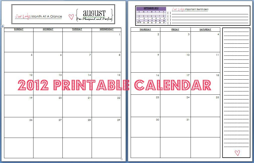 Finding Home: 2012 Printable Calendars