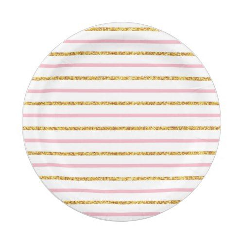 Pink \u0026 Gold Glitter Stripe Paper Plates | Party Paper Plates | Pinterest | Pink gold birthday Gold birthday and Gold glitter  sc 1 st  Pinterest & Pink \u0026 Gold Glitter Stripe Paper Plates | Party Paper Plates ...