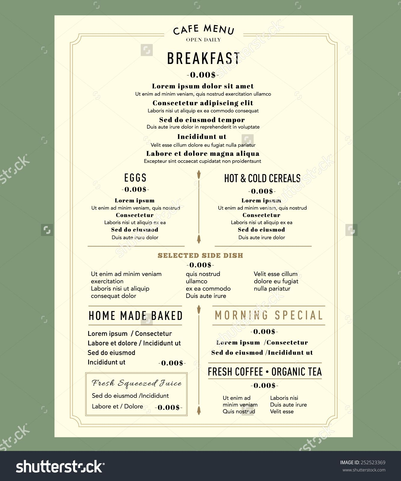 Marvelous Menu Design For Breakfast Restaurant Cafe Graphic Design Template . In Breakfast Menu Template