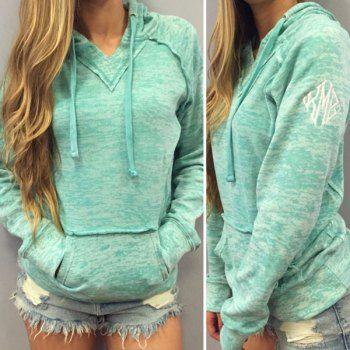 ba27a921c Trendy Hooded Long Sleeve Pocket Design Women's Hoodie (MINT GREEN,M) in  Sweatshirts & Hoodies | DressLily.com