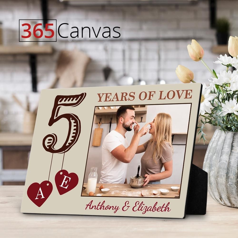 5 years of love desktop plaque custom photo 365canvas