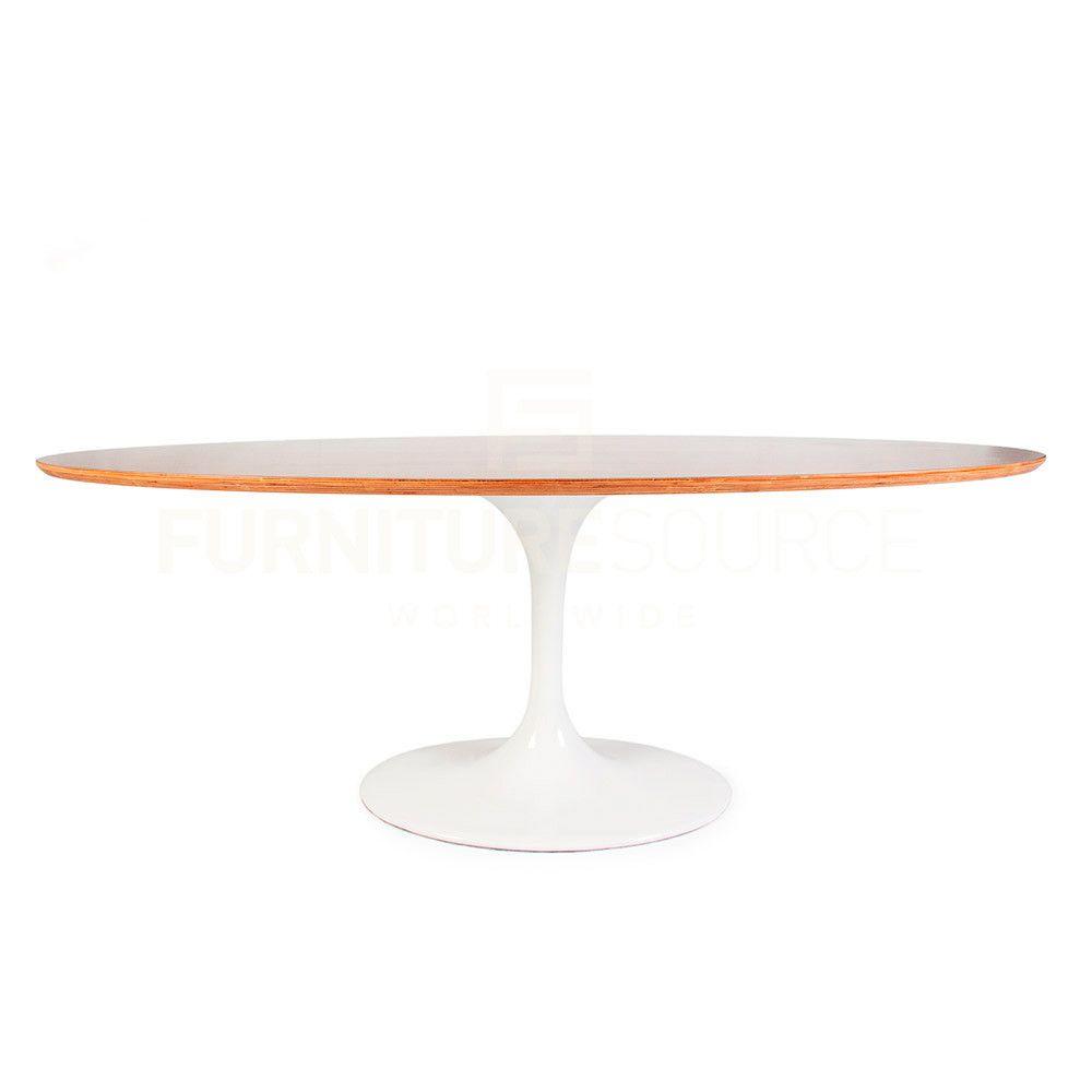 Iconic Saarinen Style Tulip Table With Walnut Veneer Top Large - Saarinen table sizes