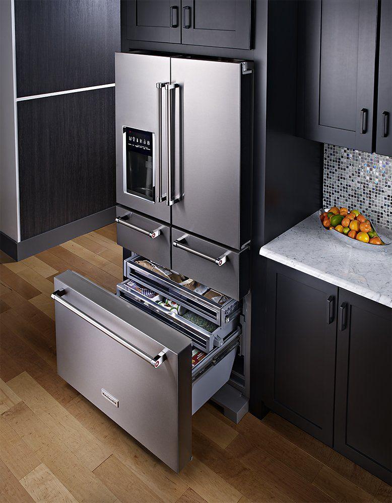 Kitchenaid 25 8 Cu Ft 5 Door French Door Refrigerator Stainless Steel Krmf706ess Best Buy French Door Refrigerator Kitchen Aid Appliances Outdoor Kitchen Appliances
