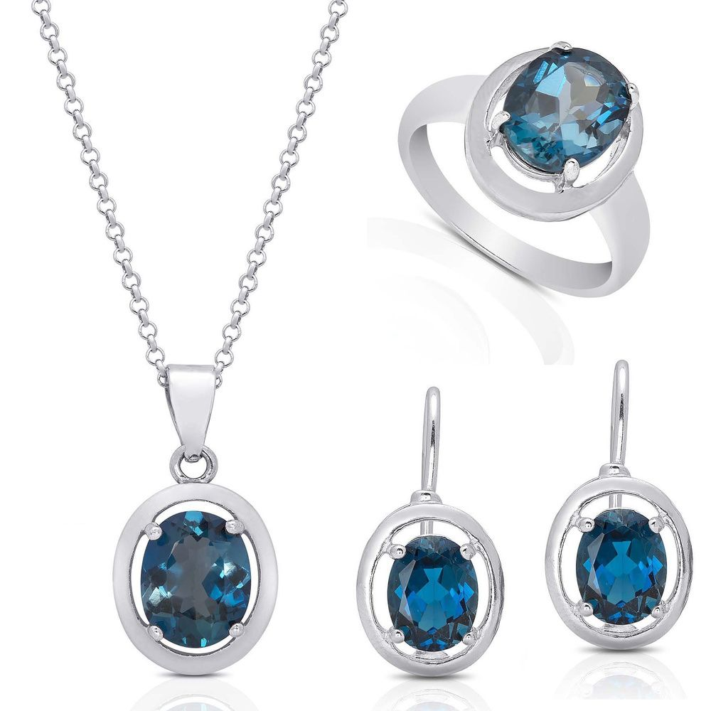 Oval cut sapphire ring necklace and earring solitaire set in k