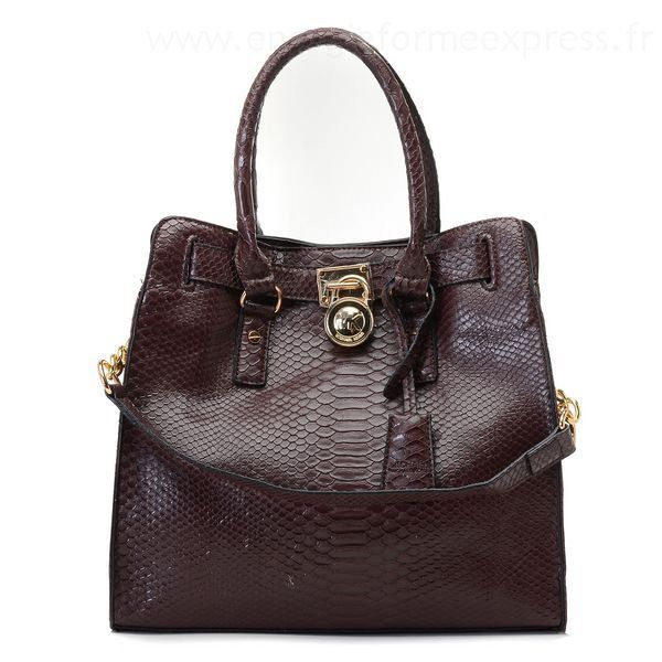 Authentic Michael Kors Hamilton Snakeskin Leather Bags Brown For Whole