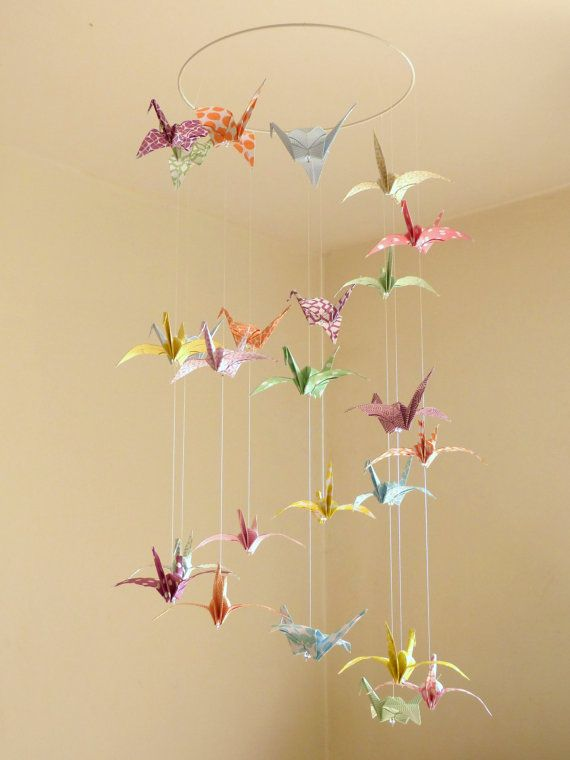 Mobile Bebe Origami Grues Pastel Triple Spirale Mobile Oiseaux