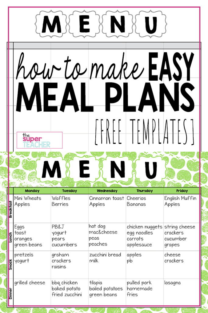 Make Easy Meal Plans with this Free Weekly Template | Weekly meal ...