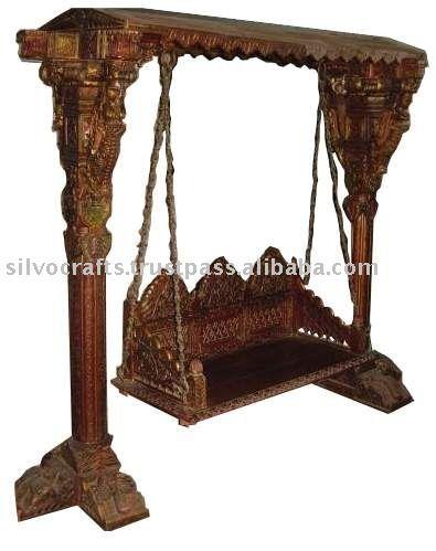 Royal Indian Rajasthani Jodhpur Hand Carved Wooden Swing Jhoola (Indian Antique  Reproduction Furniture)