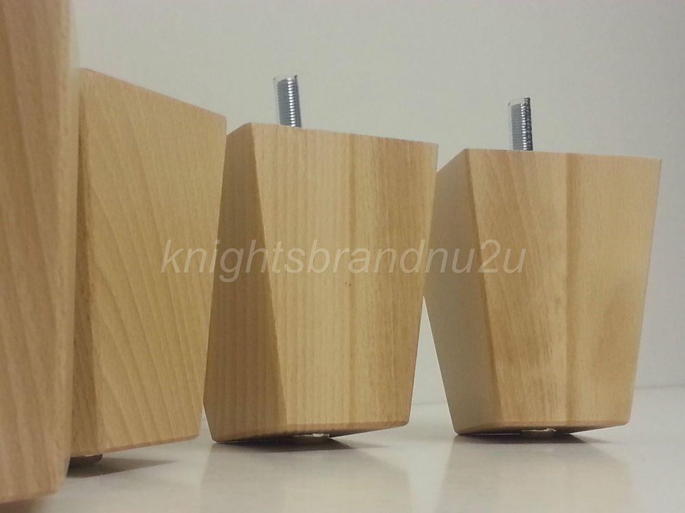 4x Wooden Block Furniture Legs Feet For Sofas Settees Chairs Footstools M8 Pernas De Mesa