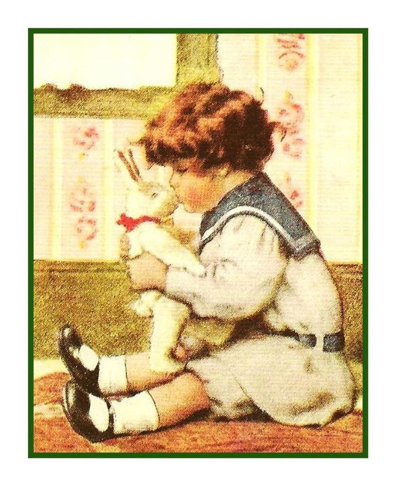 Bessie Pease Gutmann Young Child Hugging Puppy Countd Cross Stitch Chart Patter