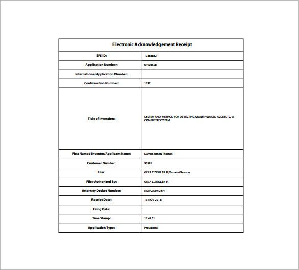 Electronic Receipt Template , Receipt Template Doc for Word - rent invoice template excel