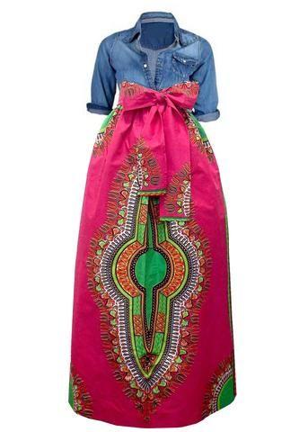 big sale buy good 100% high quality Dashiki African Print Maxi Skirt (Pink/Green) | Fab in 2019 ...