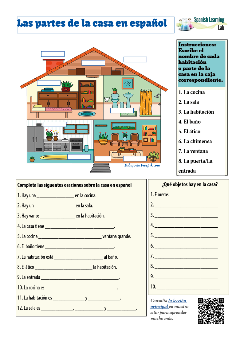 Rooms And Parts Of The House In Spanish Pdf Worksheet