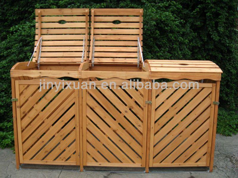 Porta bidoni spazzatura legno jc27 regardsdefemmes for Cassapanca da balcone