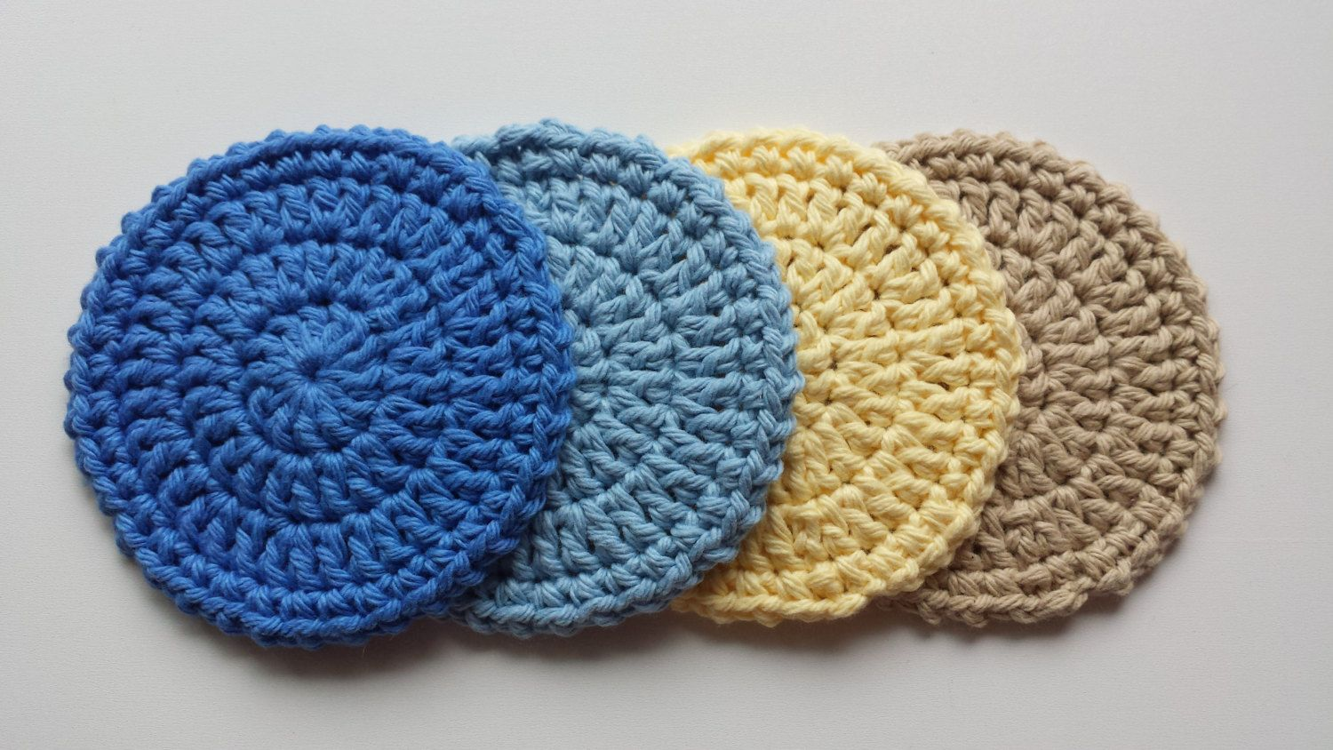 Crochet Coasters - Set of 4 - Seashore Mix by LuckyfootDesigns on Etsy