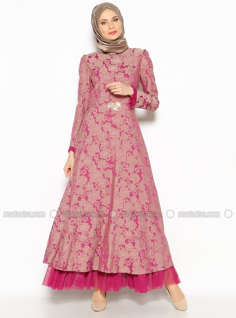 Patterned Evening Dress - Fuchsia - BURUN | Muslimah Fashion & Hijab ...