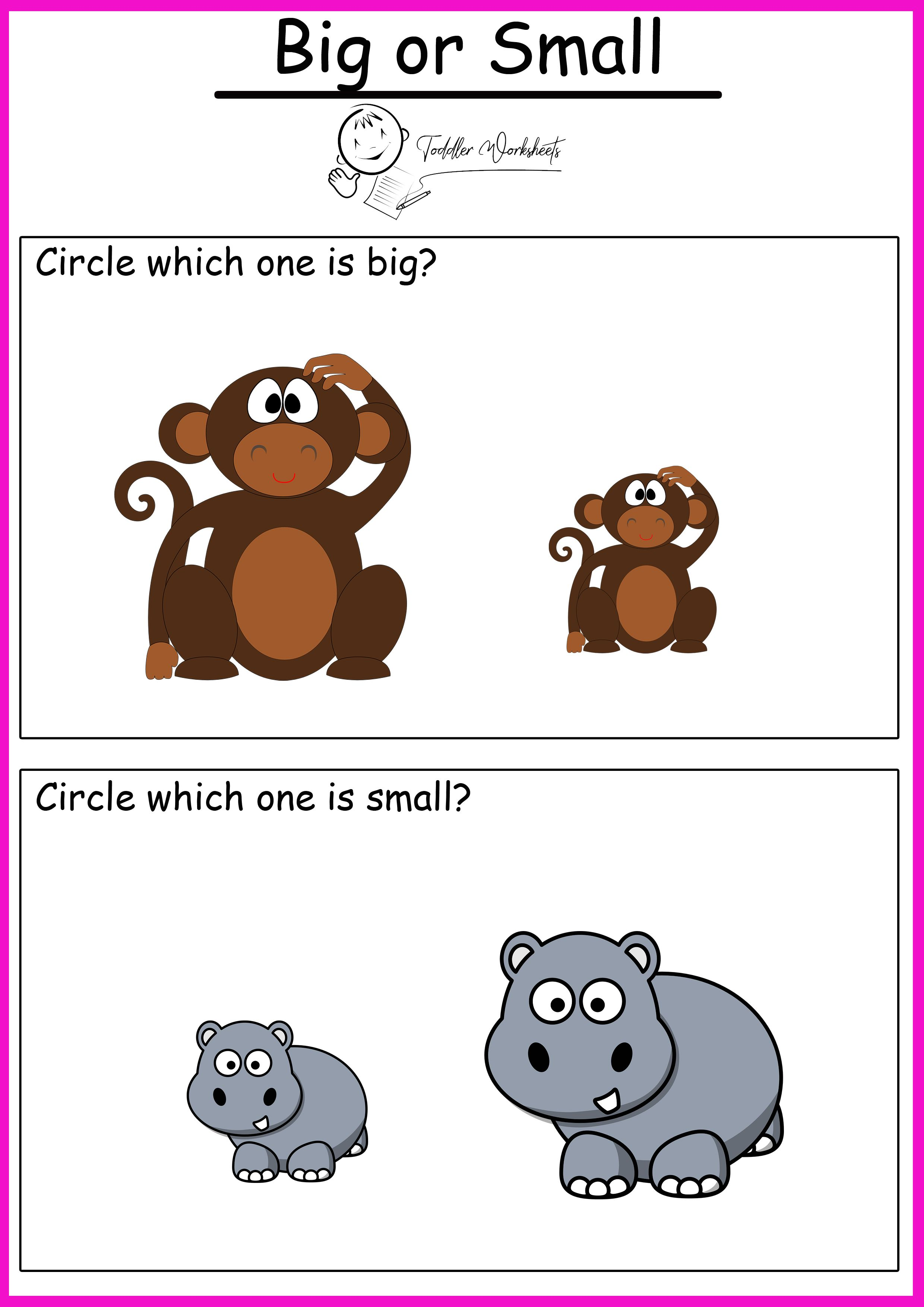 Free Preschool Sizes Worksheets