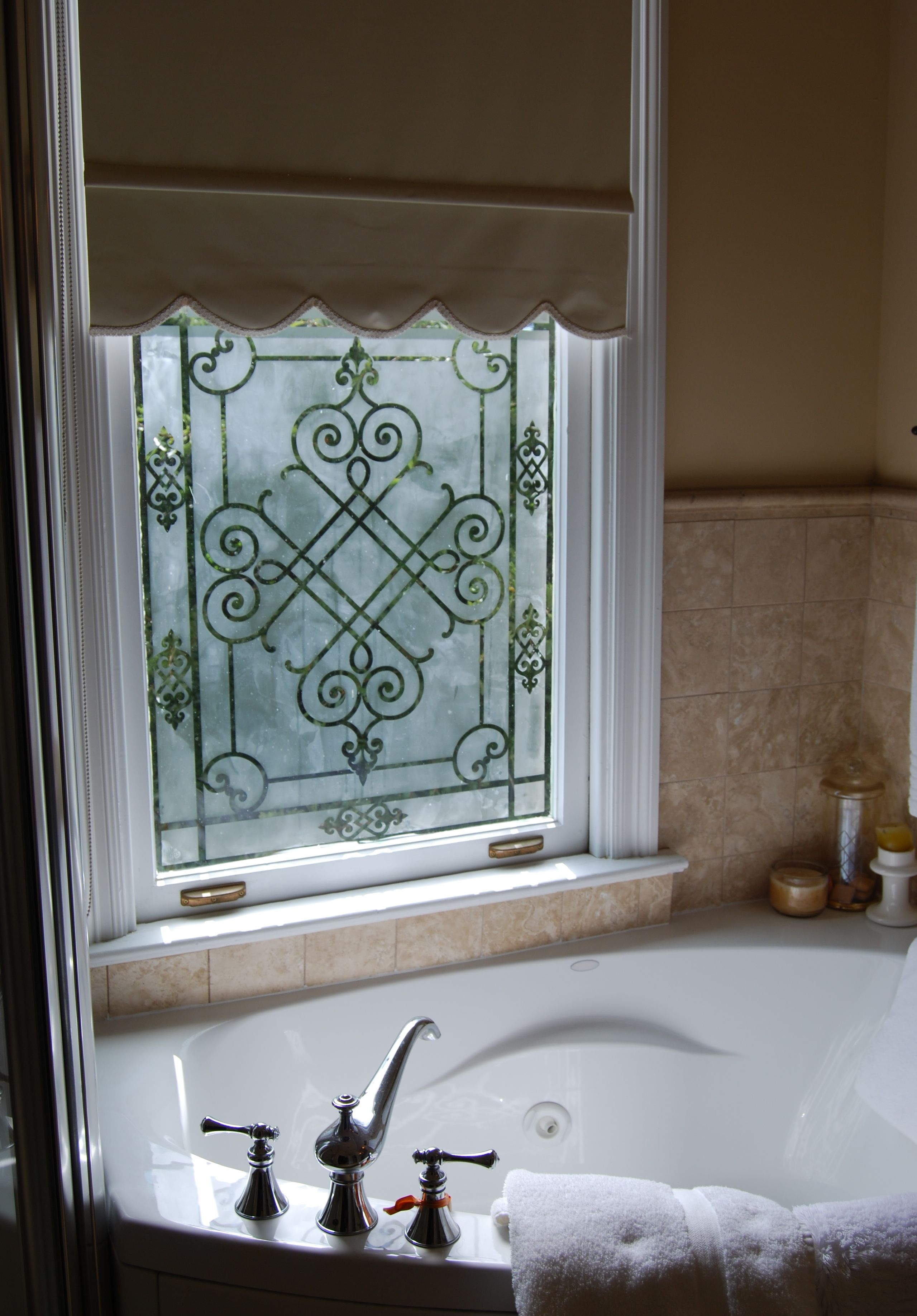 Custom painted glass window with modello designs stencils stenciled glass window pattern achpan121 painted by teri schneider