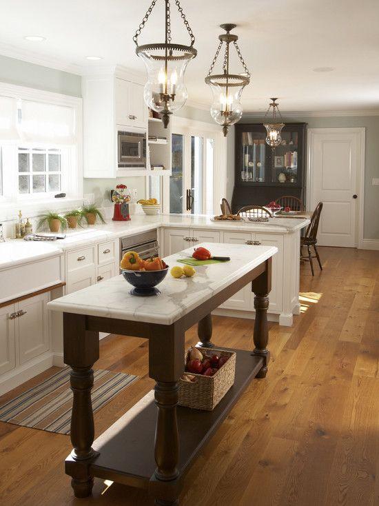 Small Kitchen Island Ideas for Small Kitchen  Wooden Floor White