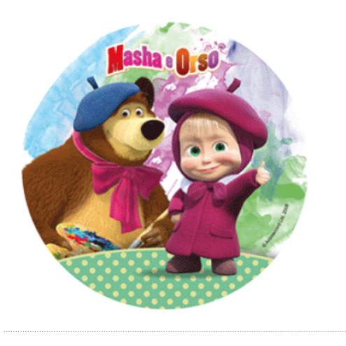 tortenaufleger masha und der bär grün 21cm   masha e o urso, festa masha e o urso