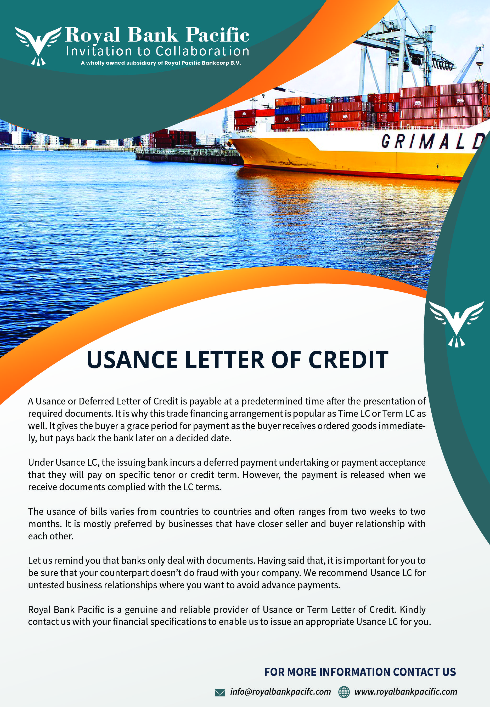 Usance Letter Of Credit Trade Finance Royal Bank Finance