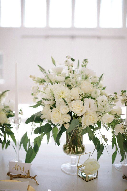 Clic Wedding Centerpiece Idea White Flowers With Greenery Mk Event Boutique