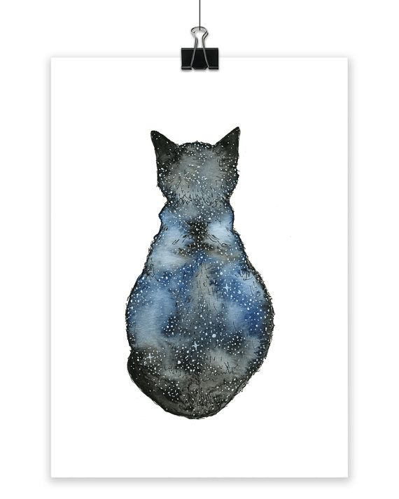 astro cat art print small art print cat print wall art art