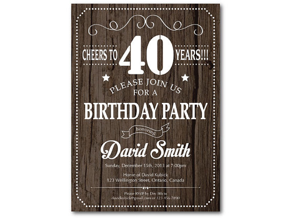40 O Invitación Del Cumpleaños Para Los Hombres Invitación