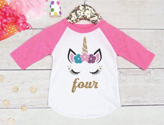 Girls 4th Birthday Shirt Unicorn Raglan Fourth Bi
