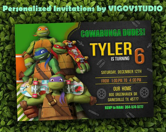 Teenage Mutant Ninja Turtles Invitation Tmnt Invitation