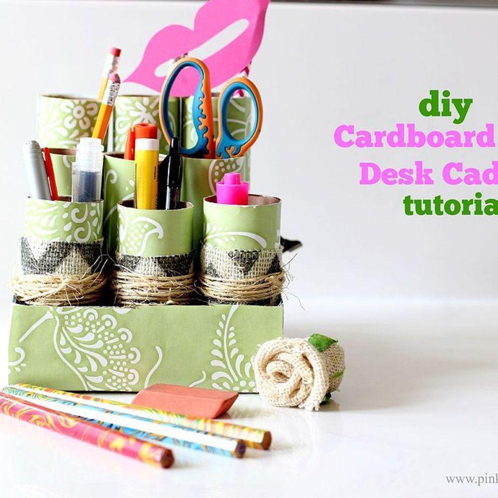 DIY Cardboard Roll Desk Caddy
