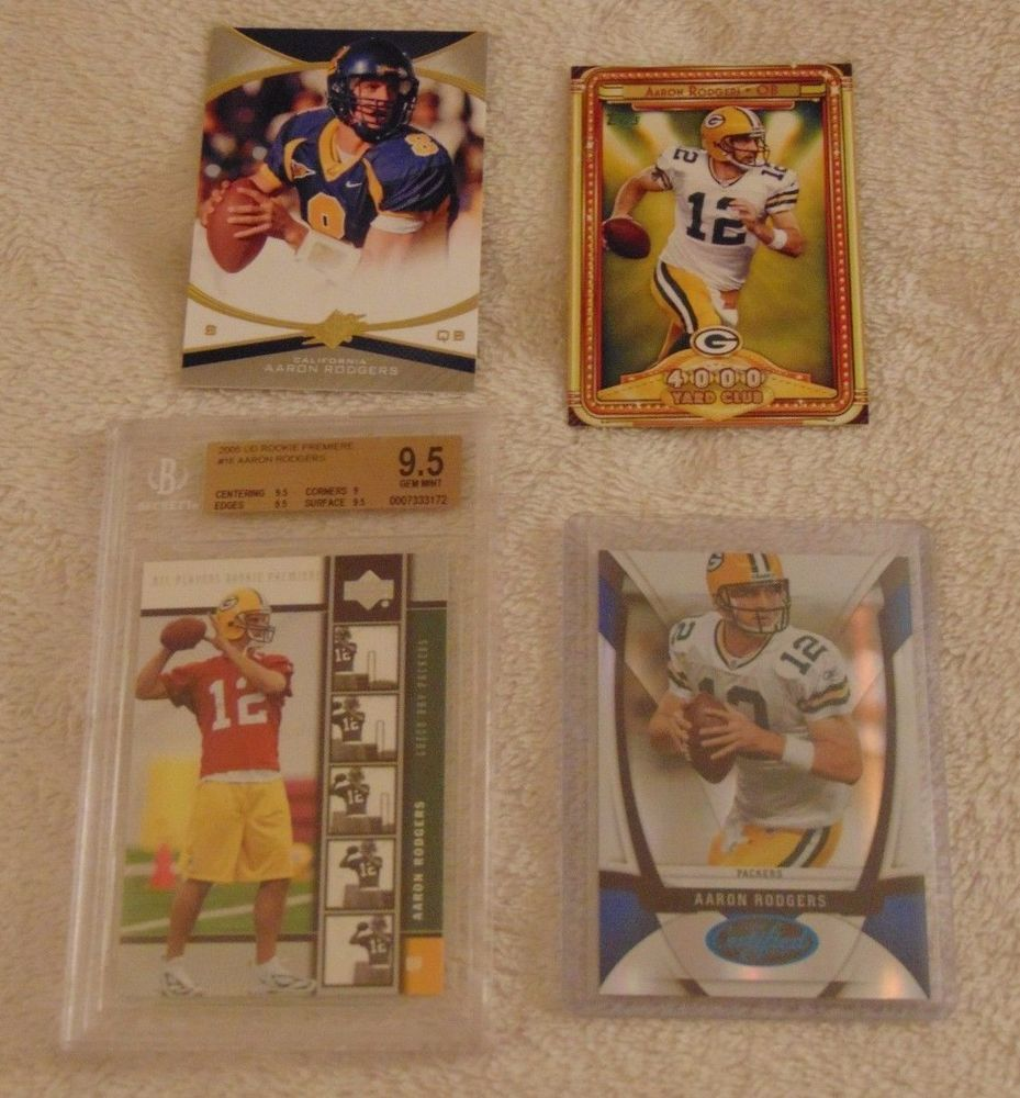 Aaron Rodgers Rookie Card 2005 Upper Deck Rookie Premiere Beckett 9 5 Blue Sp Greenbaypackers Green Bay Packers Funny Packers Funny Cards
