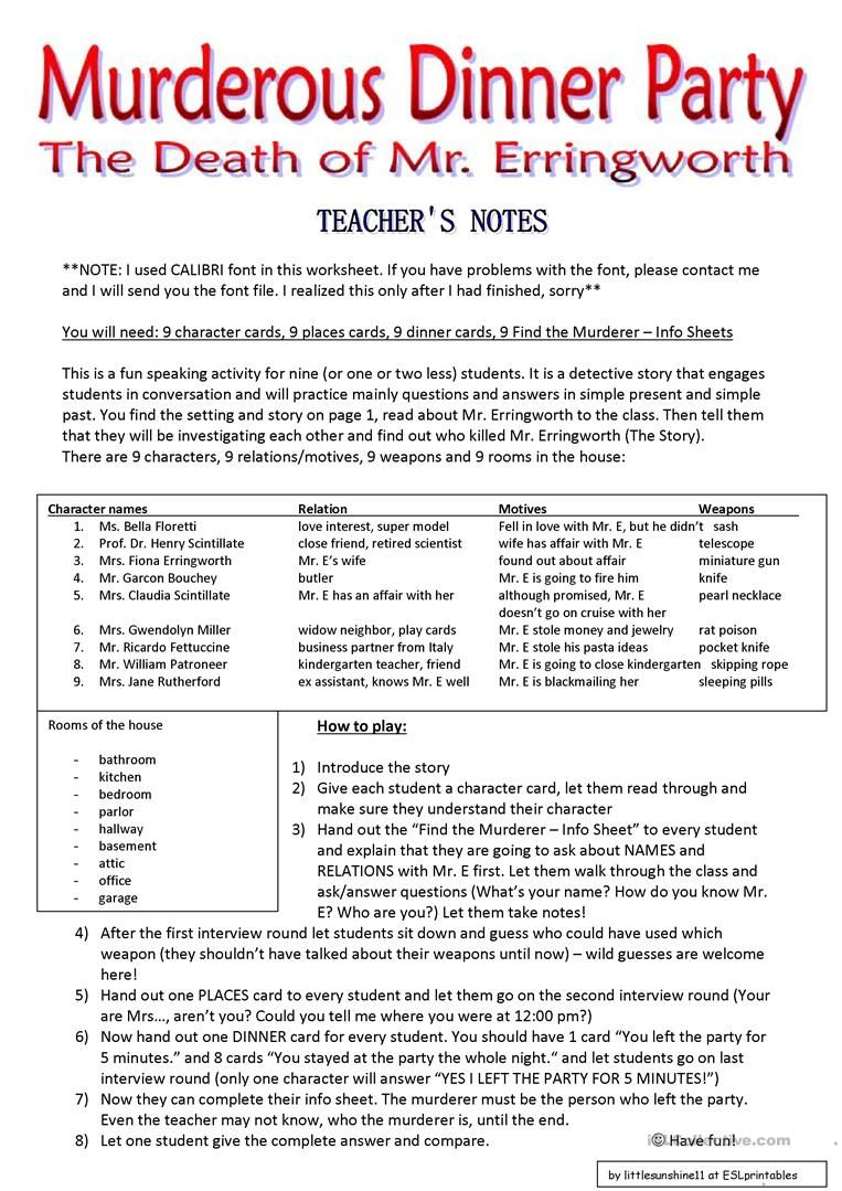 Murderous Dinner Party Roleplay Conversation Cards 7 Pages Worksheet Free Esl Printable Workshee Conversation Cards Speaking Activities English Lessons
