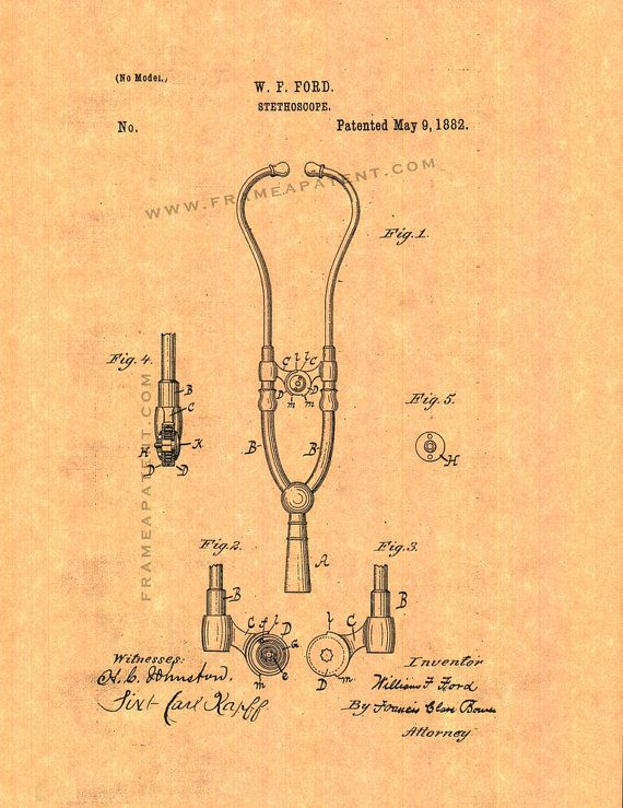 Patent Print - Doctor\'s Stethoscope Patent Wall Art Poster Print ...