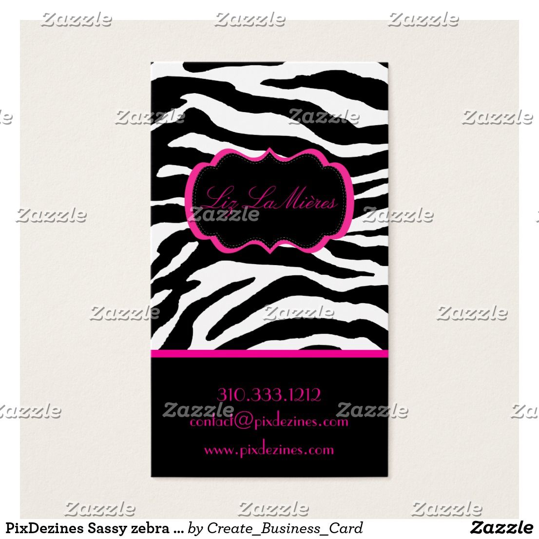 PixDezines Sassy zebra print/hot pink+black Business Card   Zebra ...