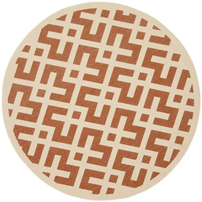 Safavieh Poolside Terracotta/ Bone Indoor Outdoor Rug (6'7 Round) , Multi, Size 7' (Polypropylene, Border)