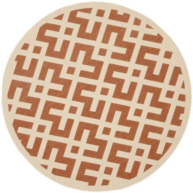 Safavieh Poolside Terracotta/ Bone Indoor Outdoor Rug (6'7 Round) , Multi, Size 7' (Polypropylene, Border)