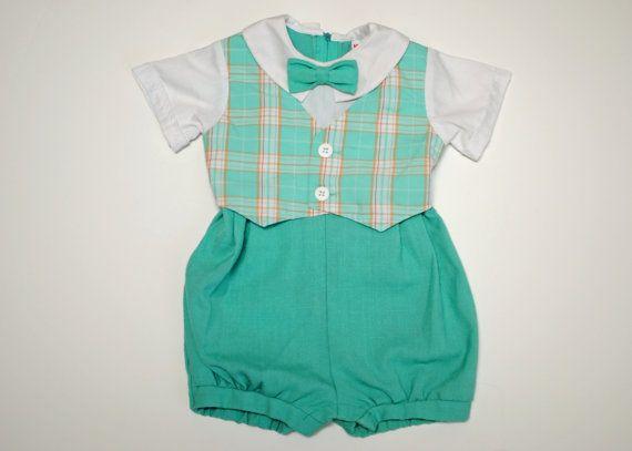 Vintage Baby Boy Romper W/ Bow Tie 18 months by MissMyrtleVintage, $15.00
