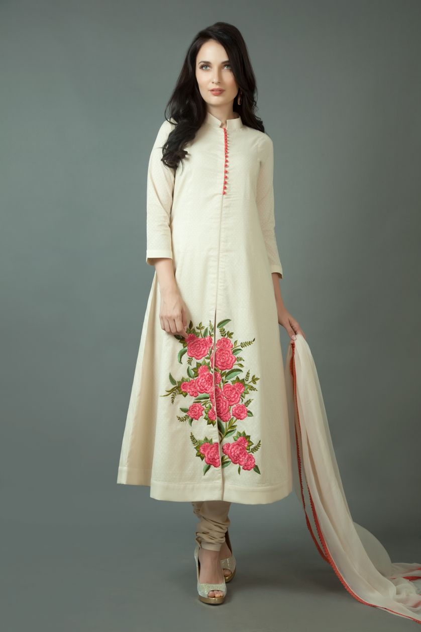 Banarasi cotton churidar kurta with resham work. Item ...
