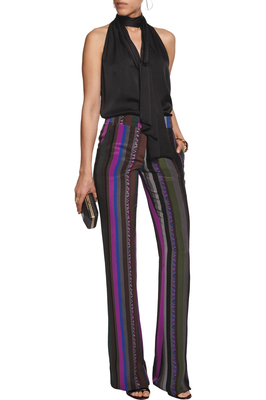 4c161b0321b9 Shop on-sale Emilio Pucci Printed silk-satin flared pants. Browse other  discount