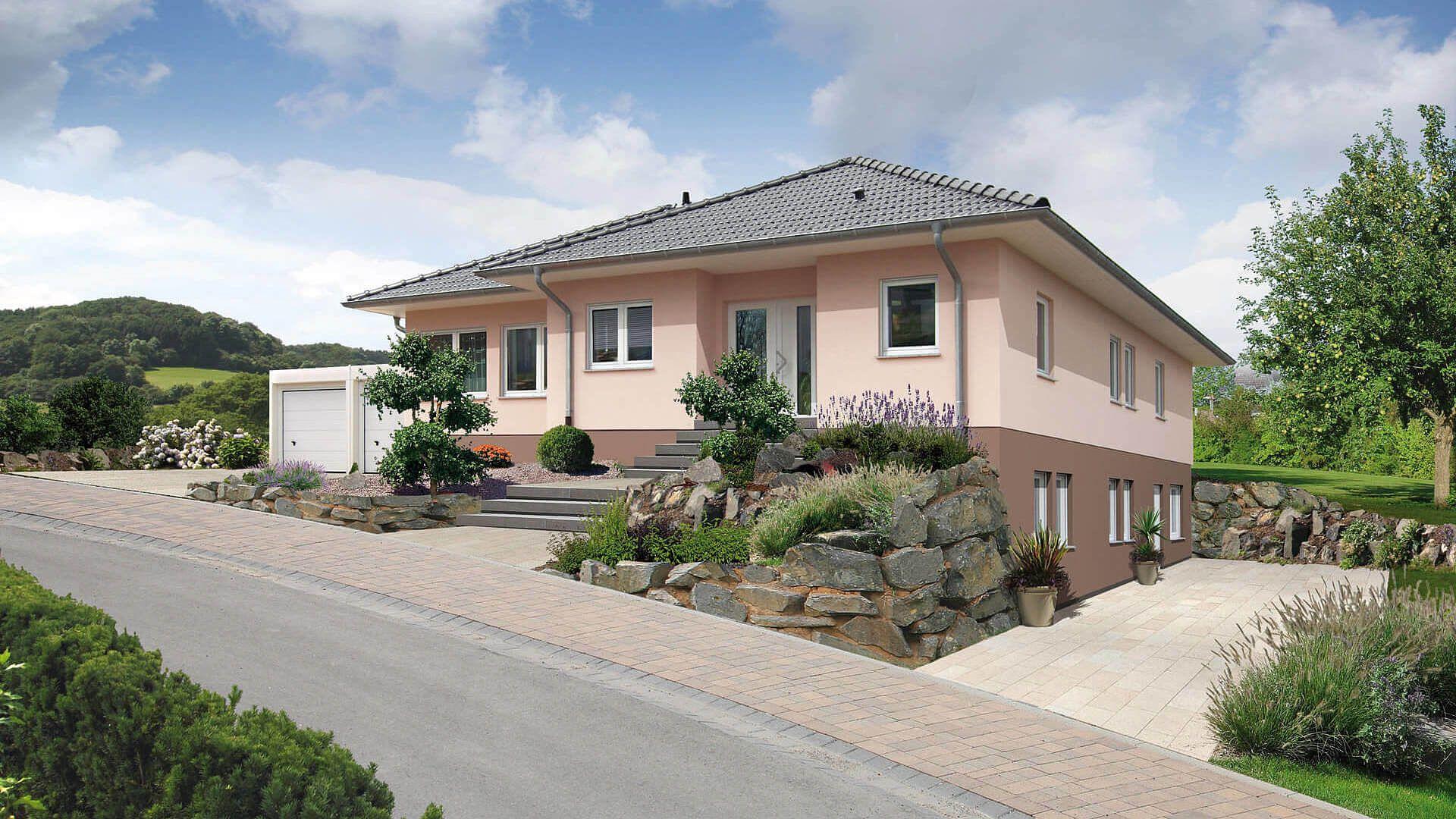 fingerhut bungalow mit keller farbig verputzt mit. Black Bedroom Furniture Sets. Home Design Ideas