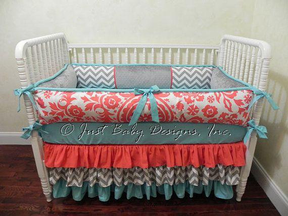 Girl Baby Bedding Set Calliope Girl Crib Bedding With Coral