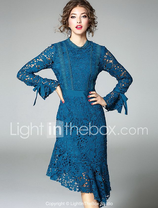 Women S Going Out Cute Sheath Dress Embroidered Crew Neck