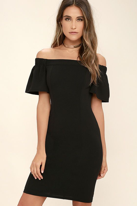 75630b726a58 There s no wrong way to wear the Do it Right Black Off-the-Shoulder Midi  Dress! Sleek stretch knit forms a figure flaunting fit from an elasticized  ...