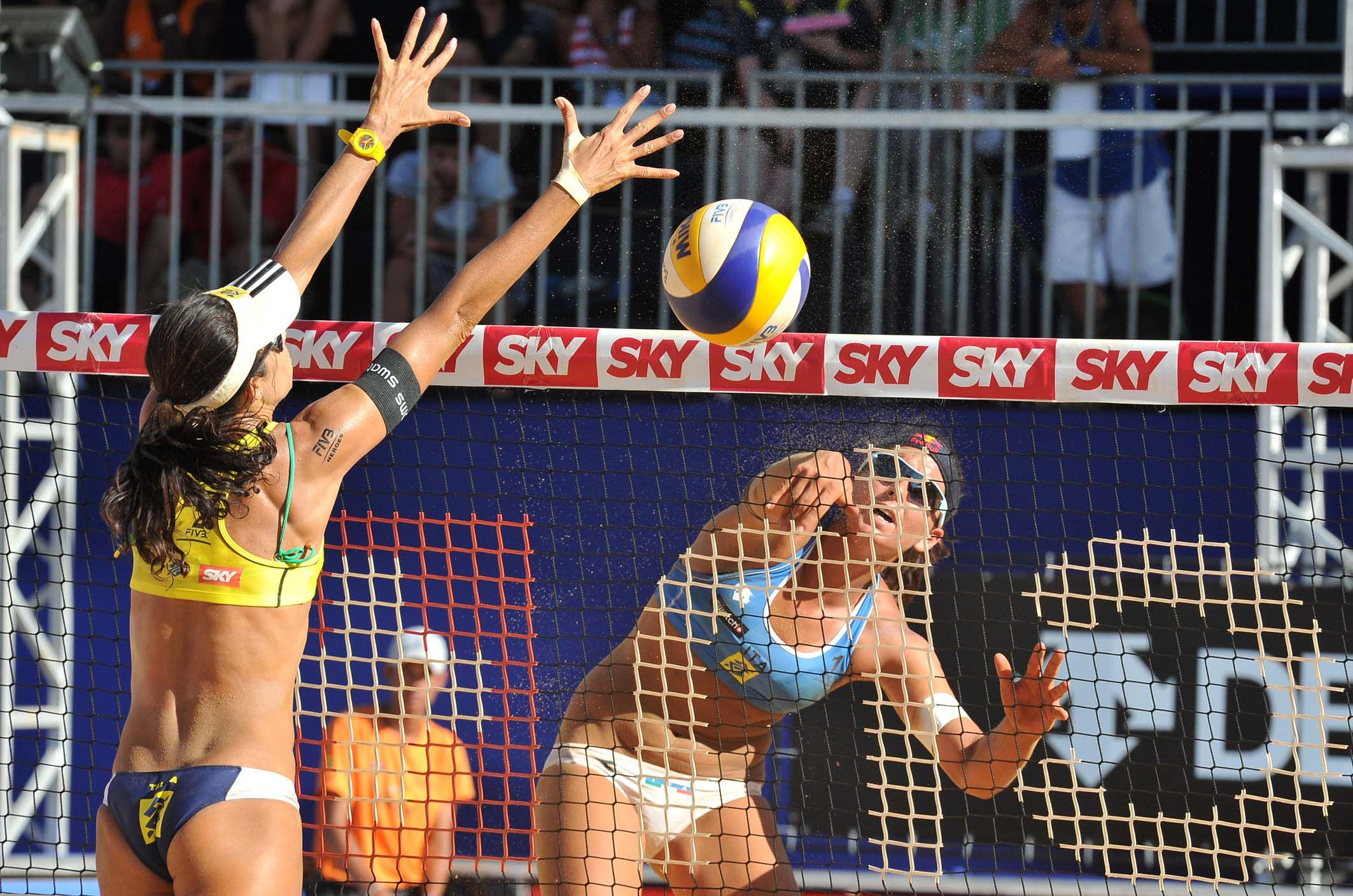 Cicolari Italy Attacks Against Talita S Brazil Block During The First Semifinal Match Beach Volleyball Volleyball Beach Games