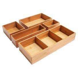 5 Piece Bamboo Drawer Organizer Set Drawer Organisers