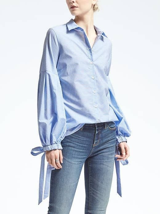 12852d48 Riley-Fit Pleated Bell-Sleeve Shirt | Banana Republic | Sewing ...